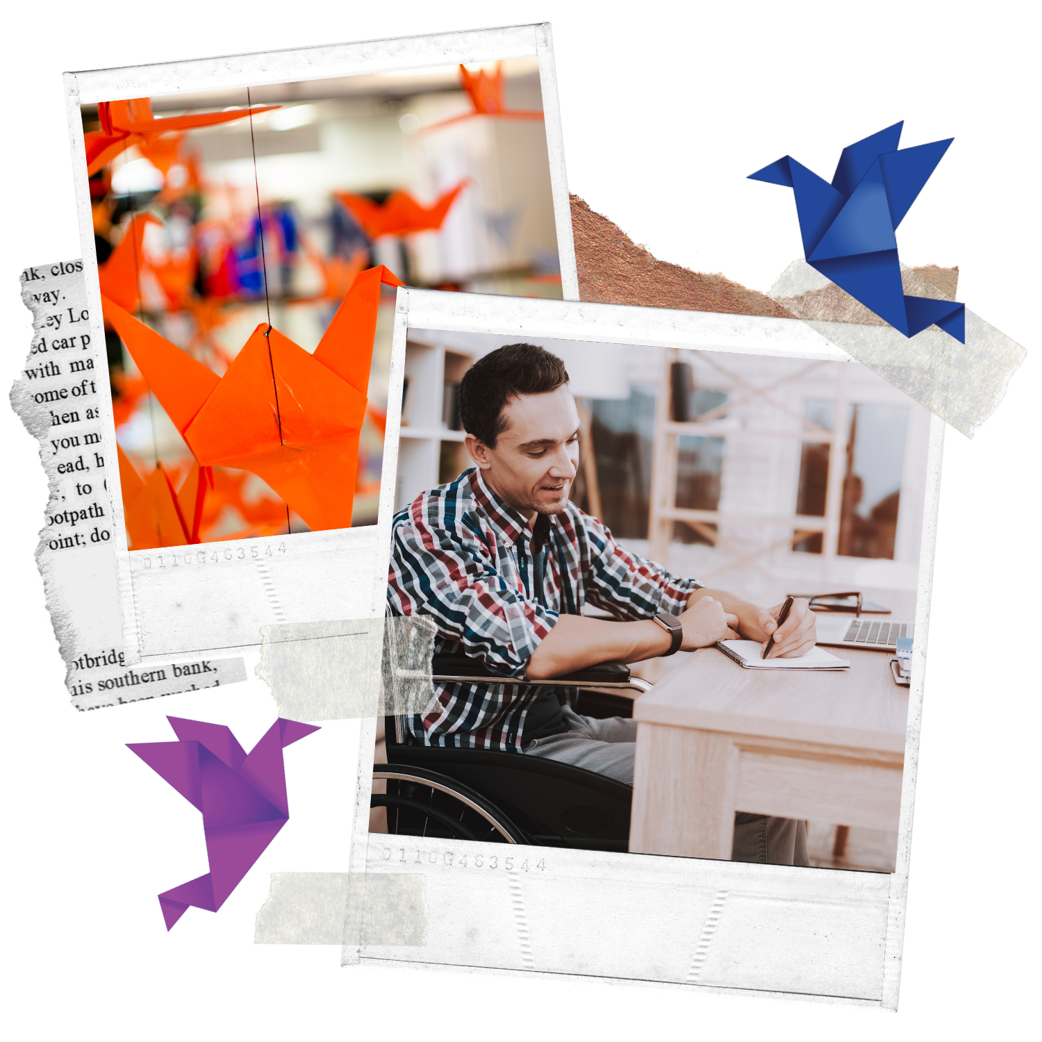 Collage Image showing hanging orange Paper Cranes and a man in a wheelchair sitting on a desk writing a letter