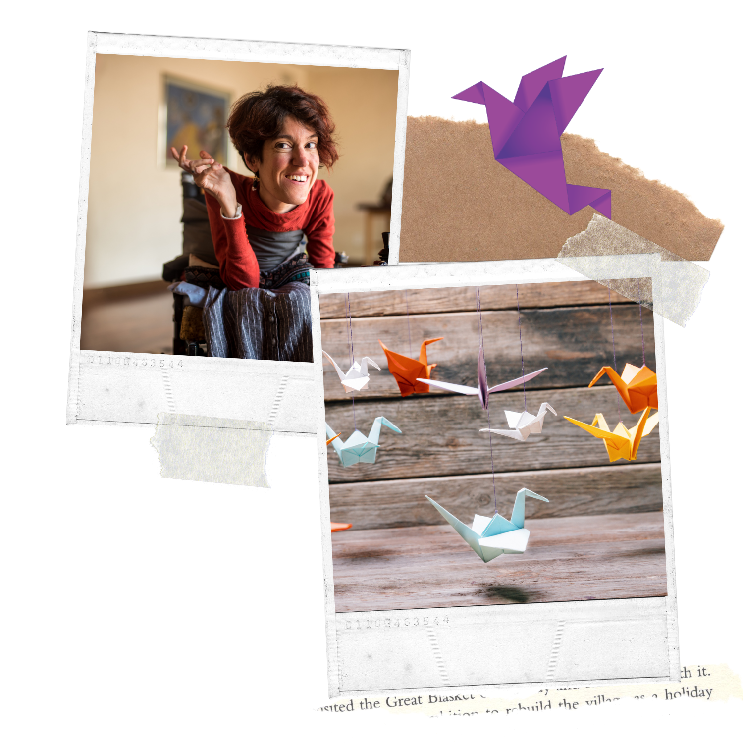 Collage Image showing hanging colourful Paper Cranes and a women in a wheelchair smiling and being happy