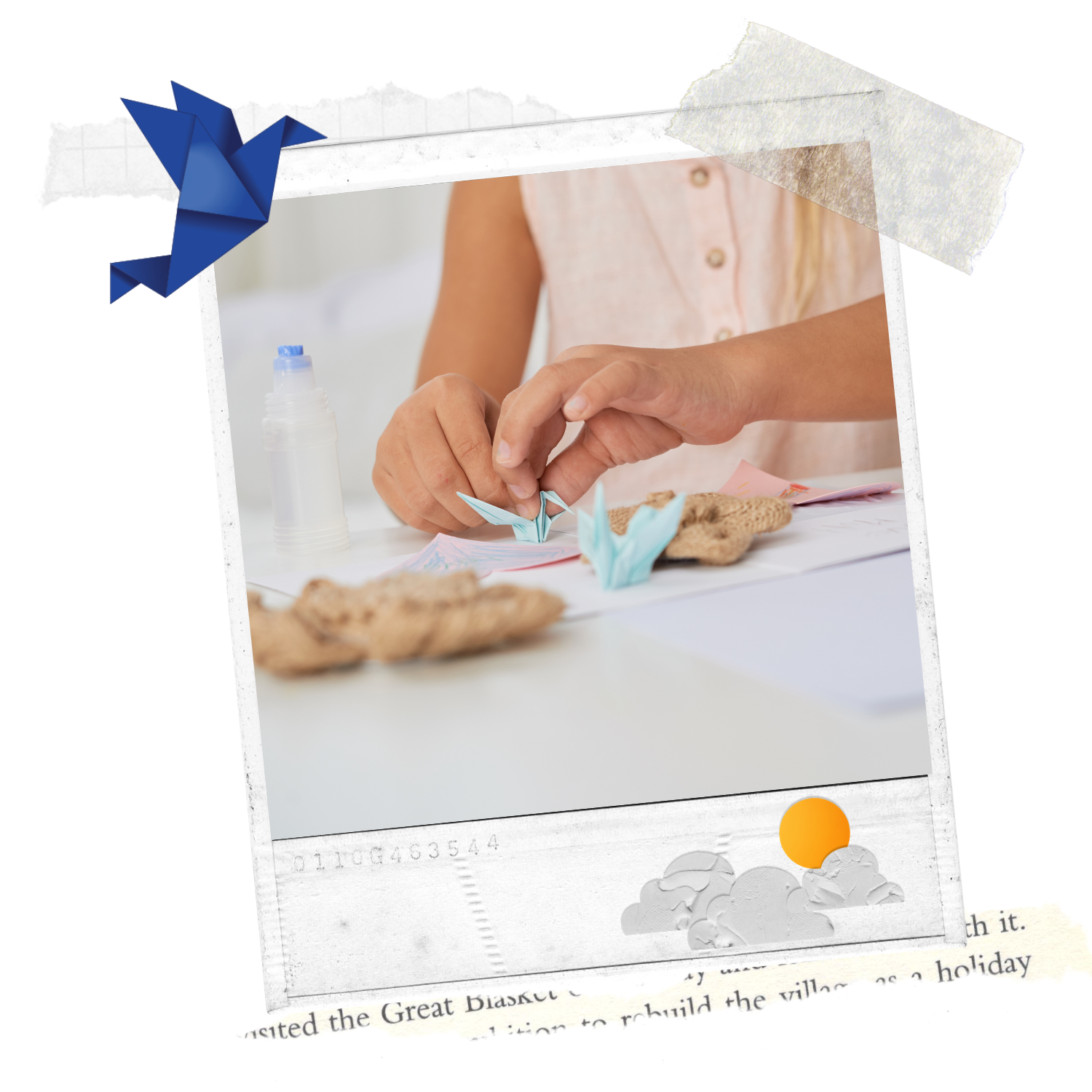 collage image of person's hands making a small, origami paper crane